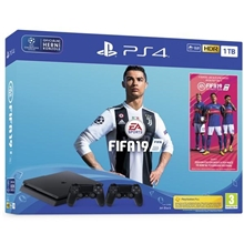 Sony PlayStation 4 SLIM 1TB + FIFA19 (2x Sony Dualshock 4 Black)  (PS4)
