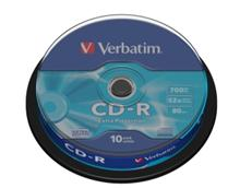 Média CD-R Verbatim 700MB/80min, 52x, Spindle 10ks